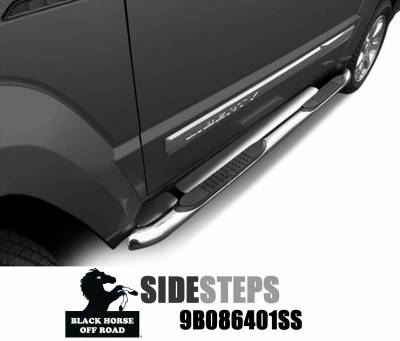 Black Horse Off Road - F | 3in Side Steps | Stainless Steel | 9B086401SS
