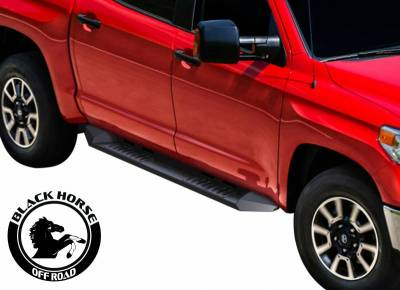 Black Horse Off Road - E | Armour Heavy Duty Steel Running Boards | Black | Crew Cab | AR-GMG185