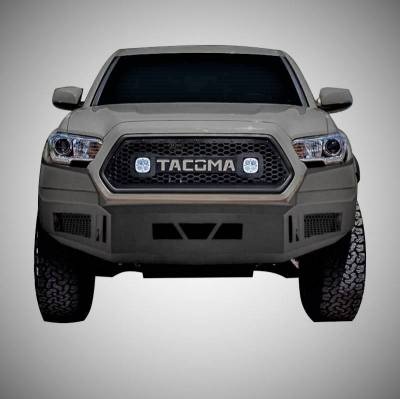 Black Horse Off Road - AFB-TA16 Black Armour Front HD Bumper NO lights | 2016 to 2019 Toyota Tacoma