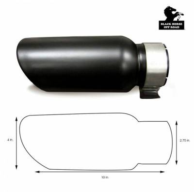 Black Horse Off Road - Muffler Tip MT-RR01BK - Black