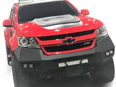 Black Horse Off Road - B | Armour Front Bumper Kit | Black | With LED Lights (1x 20in light bar, 2x pair LED cube) | AFB-CO15-KIT