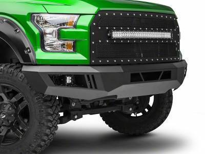 Black Horse Off Road - B | Armour Front Bumper Kit | Black | With LED Lights (1x 20in light bar, 2x pair LED cube) | AFB-F109-KIT