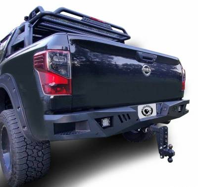 Black Horse Off Road - I | Heavy Duty Armour Rear Bumper Kit | Black | With LED Lights (2x pair LED cube) |   ARB-NITI-KIT