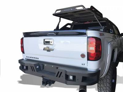 Black Horse Off Road - I | Heavy Duty Armour Rear Bumper Kit | Black | With LED Lights (2x pair LED cube) | ARB-SI25-11-KIT