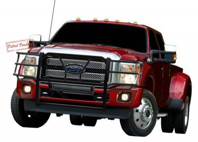 Black Horse Off Road - D | Rugged Heavy-Duty Grille Guard Kit | Black | With 20in LED Light Bar | RU-FOF211-B-KIT