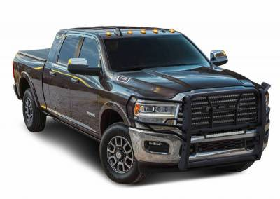 "Black Horse Off Road - D | Rugged Heavy-Duty Modular Grille Guard | Black | With 20"" LED Double Row Lights 