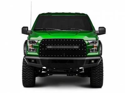 Black Horse Off Road - AFB-F115-KIT Black Armour Front HD Bumper with Light Kit | 2015 to 2016 Ford F-150