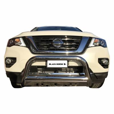 Black Horse Off Road - Bull Bar BB110412A-SP - Black with Black Skid Plate Nissan Pathfinder