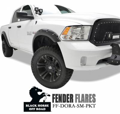 Black Horse Off Road - Fender Flares FF-DORA-SM-PKT - Black Dodge Ram 1500 Regular, Quad, Crew Cab