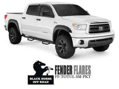 Black Horse Off Road - Black Horse - FF-TOTUL-SM-PKT-07 Pocket Style Black Front and Rear Fender Flares Toyota Tundra