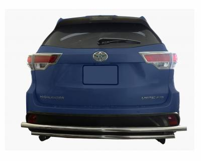 Black Horse Off Road - Double Layer Rear Bumper Guard Stainless Steel - Toyota Highlander 2014 to 2016
