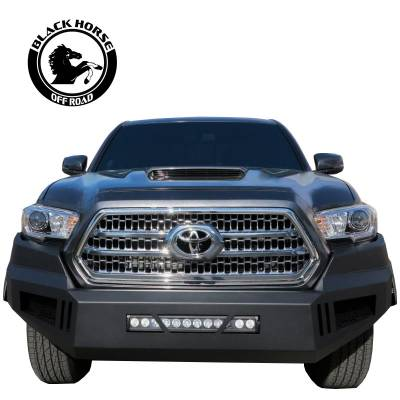 Black Horse Off Road - Black Horse Black Armour Front HD Bumper NO lights AFB-TA16  | 2016 to 2019 Toyota Tacoma