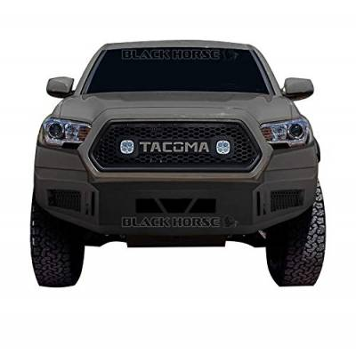 Black Horse Off Road - Black Horse Black Armour Front HD Bumper with Light Kit AFB-TA16-KIT | 2016 to 2019 Toyota Tacoma