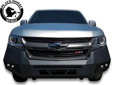 Black Horse Off Road - Black Horse Black Armour Front HD Bumper with Light Kit AFB-CO15-KIT | 2015 to 2020 Chevrolet Colorado