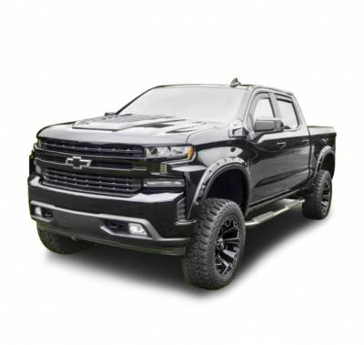 Black Horse Off Road - N | Fender Flares | Black Paintable |  Bolt-head Style - Smooth |Crew Cab | FF-CHSIL19-SM