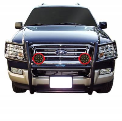 "Black Horse Off Road - D   Grille Guard Kit  Black   With Set of 7"" Red LED"