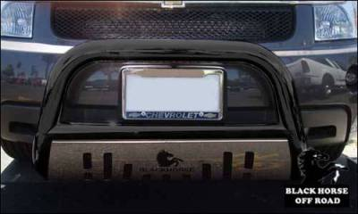 Black Horse Off Road - A   Bull Bar   Black   Stainless Steel Skid Plate   CBBS-GMC3105SP