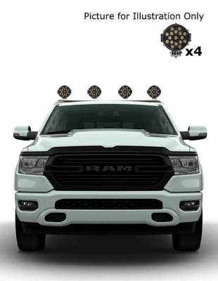 """Black Horse Off Road - J   Classic Roll Bar   Stainless Steel  Tonneau Cover Compatible  W/ Set of 7"""" Black LED  RB002SS-PLB"""