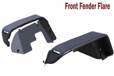 Black Horse Off Road - N   Tubular Fender Flares   4 Pieces   Black   TFFJL