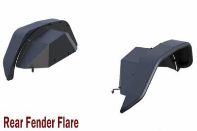 Black Horse Off Road - N   Tubular Rear Fender FlaresWith LED Turn Light    2 Pieces  Black  TFFJL2