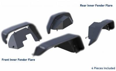 Black Horse Off Road - N   Full Set Tubular Fender Flares - Front & Rear W/ 2 Daytime Running lights & LED Turn Light   4 Pieces   Black   TFFJL4