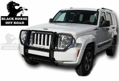 Front End Protection - Grille Guards - Black Horse Off Road - Grille Guard 17A086400A - Black Jeep Liberty