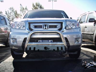 Front End Protection - Bull Bars - Black Horse Off Road - Bull Bar BBH1409-SP - Stainless Steel with Stainless Steel Skid Plate Honda Pilot
