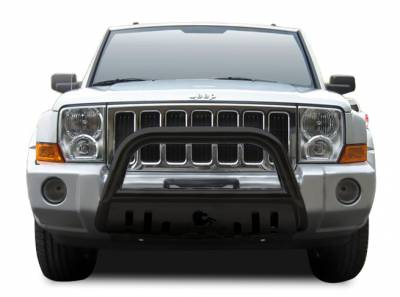 Front End Protection - Bull Bars - Black Horse Off Road - Bull Bar BB080009A-SP - Black with Black Skid Plate | Jeep Commander, Grand Cherokee