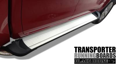Side Steps & Running Boards - Commercial Running Boards - Black Horse Off Road - TR-G13596S - Transporter Silver Running Boards | Savannah & Express 2003 to 2017