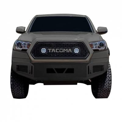 Bumpers - Front Bumper - Black Horse Off Road - AFB-TA16 Black Armour Front HD Bumper NO lights | 2016 to 2017 Toyota Tacoma