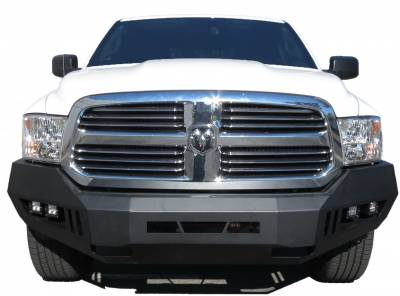 Black Horse Off Road - AFB-RA13-KIT Black Armour Front HD Bumper with Light Kit | 2013 to 2018 Dodge Ram 1500