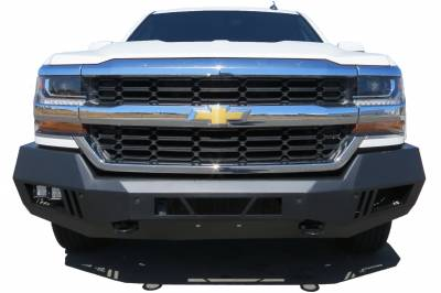Bumpers - Front Bumper - Black Horse Off Road - AFB-SI16-KIT Black Armour Front HD Bumper with Light Kit | 2016 to 2017 Chevrolet Silverado