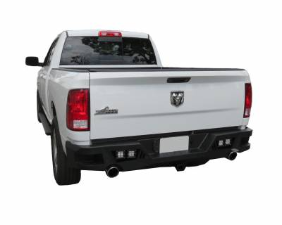 Bumpers - Rear Bumper - Black Horse Off Road - ARB-RA13-KIT - Armour Black Rear HD Bumper with Light Kit | 2013 to 2016 Dodge Ram 1500