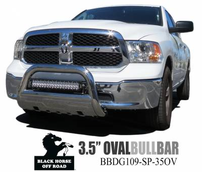 Black Horse Off Road - Savannah Bull Bar BBDG109-SP-35OV - Stainless Steel with Stainless Steel Skid Plate Dodge Ram 1500