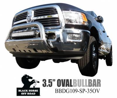 Black Horse Off Road - Savannah Bull Bar BBDG109-SP-35OV - Stainless Steel with Stainless Steel Skid Plate Dodge Ram 1500 - Image 2