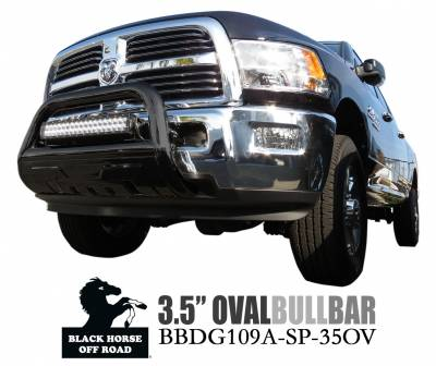 Front End Protection - Savannah Bull Bars - Black Horse Off Road - Savannah Bull Bar BBDG109A-SP-35OV - Black with Black Skid Plate Dodge Ram 1500