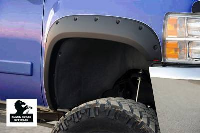 Products - Fender Flares - Black Horse Off Road - Pocket Style Fender Flares FF-GMSIE-SM-PKT - Black GMC Sierra 1500 Standard, Double, and Crew Cab