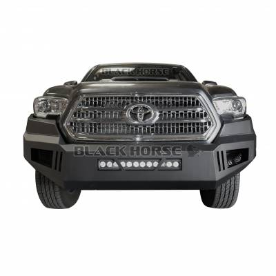 Front End Protection - Front Bumpers - Black Horse Off Road - AFB-TA16-KIT Black Armour Front HD Bumper with Light Kit   2016 to 2019 Toyota Tacoma