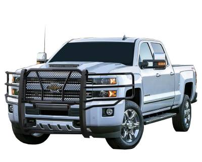 Products - Black Horse Off Road - Black Modular Rugged Grille Guard For 15-19 Chevy Silverado 2500/3500