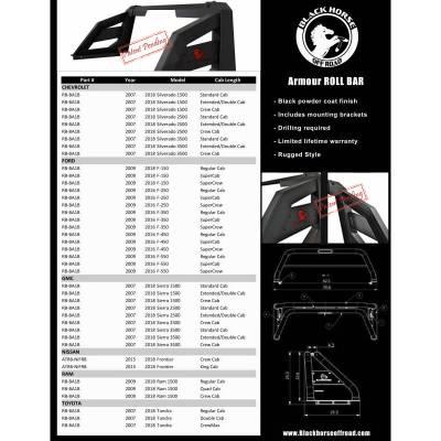 Black Horse Off Road - Black Horse Off Road Armour Roll Bar Kit RB-AR1B Black Steel Chevy Silverado/ Toyota Tundra/ GMC Sierra/Ford F150/ RAM 1500 - Image 6