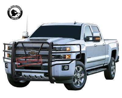 Products - Front End Protection - Black Horse Off Road - Black Modular Rugged Grille Guard For 15-19 Chevy Silverado 2500/3500