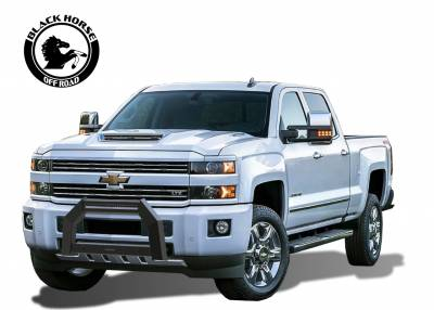 Front End Protection - Armour Bull Bar - Black Horse Off Road - A | Armour Bull Bar | Satin Black | AB-GM26 | With 20in LED Light Bar