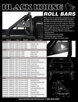 Black Horse Off Road - J | Classic Roll Bar | Tonneau Cover Compatible | Black - Image 5