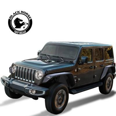 Products - Fender Flares - Black Horse Off Road - Black Horse Tubular Rear Fender Flares TFFJL2 Black TPO 2018-2019 Jeep Wrangler JL