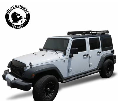 Products - Roof Racks and Cargo - Black Horse Off Road - Black Horse Traveler Roof Rack Kit BA-JKBO-KIT13 Black Steel 2007-2018 Jeep Wrangler TJ /JK Hard top Includes 2 sets of 4in cube lights