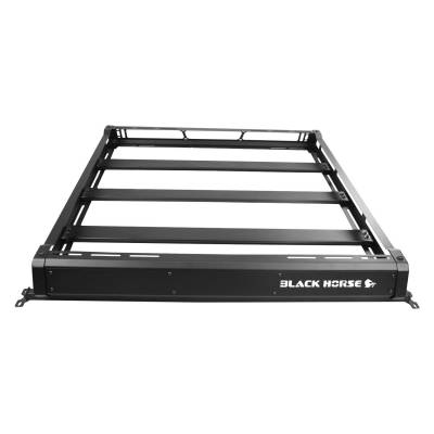 Products - Roof Racks and Cargo - Black Horse Off Road - Black Horse Traveler Roof Rack Kit BA-JKBO-KIT40 Black Steel 2007-2018 Jeep Wrangler TJ /JK Hard top Includes 1 40in LED Light Bar