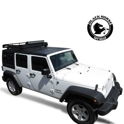 Black Horse Off Road - Black Horse Traveler Roof Rack BA-JKDR Black Steel 2007-2018 Jeep Wrangler JK Hard top - Image 7