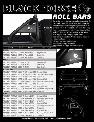Products - Roll Bars - Black Horse Off Road - Black Horse Roll Bar RB001SS-KIT - Stainless Steel | Ram 1500, Ford, Chevrolet, GMC, Toyota Includes 1 50in LED Light Bar
