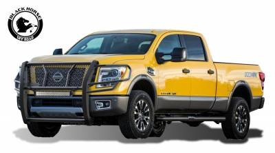 """Front End Protection - Grille Guards - Black Horse Off Road - Black Horse RUGGED Heavy Duty Grille Guard WITH 20"""" LED Light RU-NIXD16-B-KIT Black Steel Modular 2016-2020 Nissan Titan XD"""