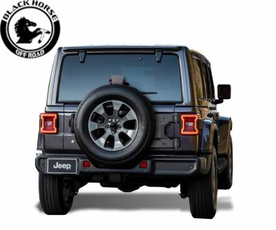 Rear End Protection - Step Rear Bumper Guards - Black Horse Off Road - Black Horse Armour Rear Bumper Black Steel ATC-JL18 for 2018-2019 Jeep Wrangler JL Protector